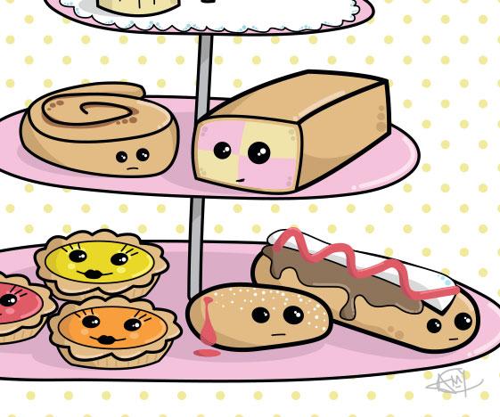 Pastel cakes graphic art print