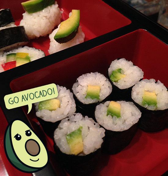 Vegetarian Sushi - Avocado rolls