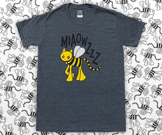 Dark grey mens bumblebee cat t-shirt