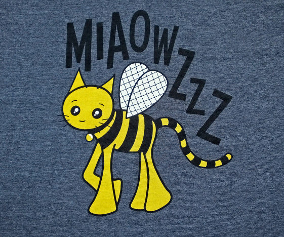 Grey bumblebee cat t-shirt