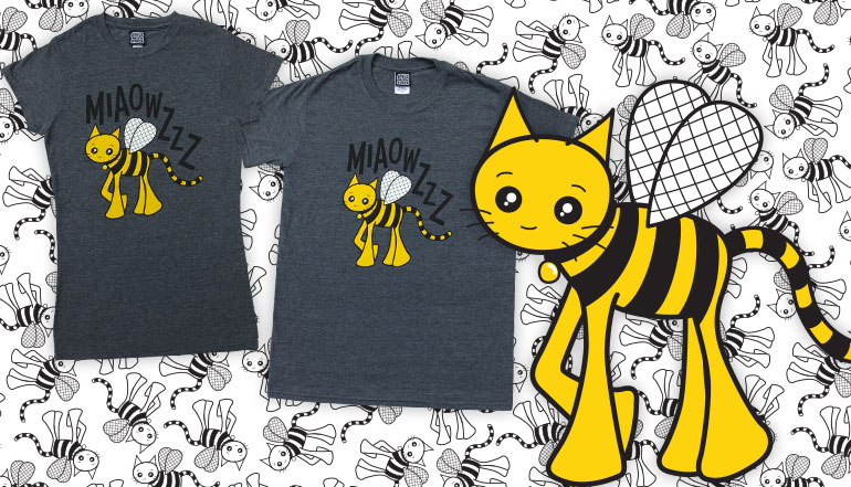 Bumblebee Cat T-Shirt in Grey