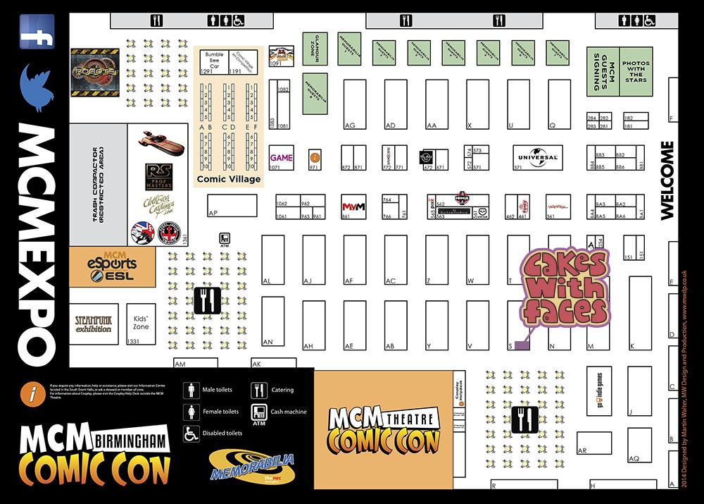 MCM Expo Birmingham Comic Con Floor Plan November 2014