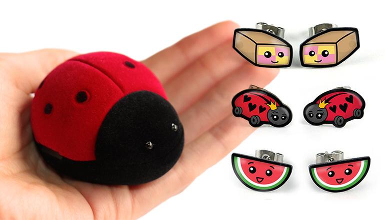 Ladybird box set of earrings