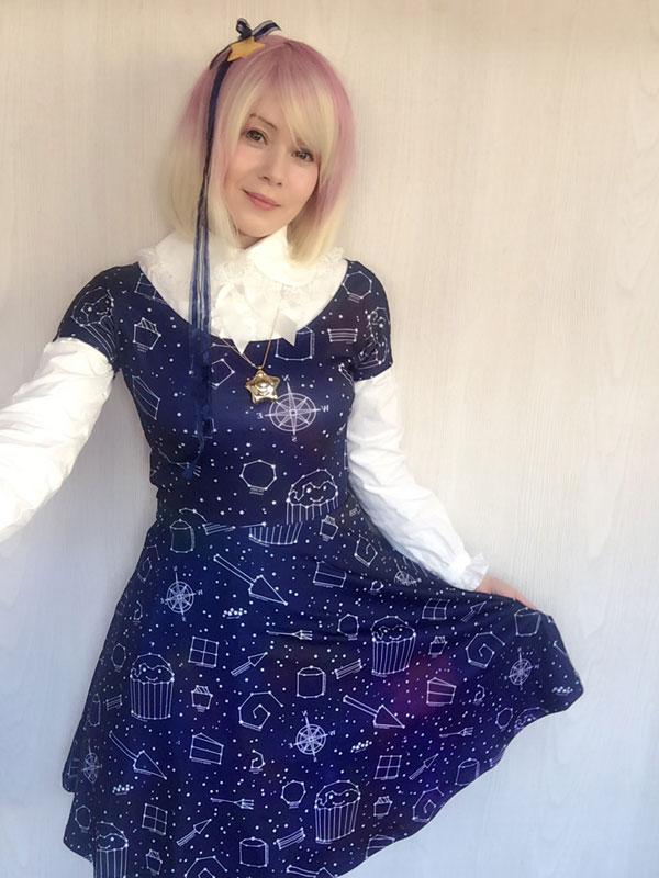 Cathy Cat wearing Starry Night cake dress