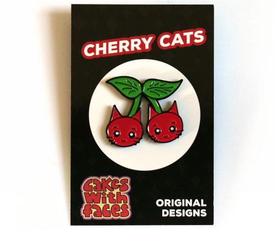 Cat Cherries Pin Badge