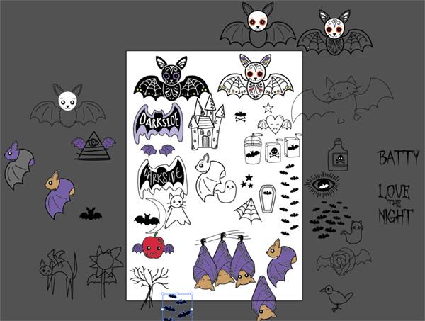 Rough bat sketches