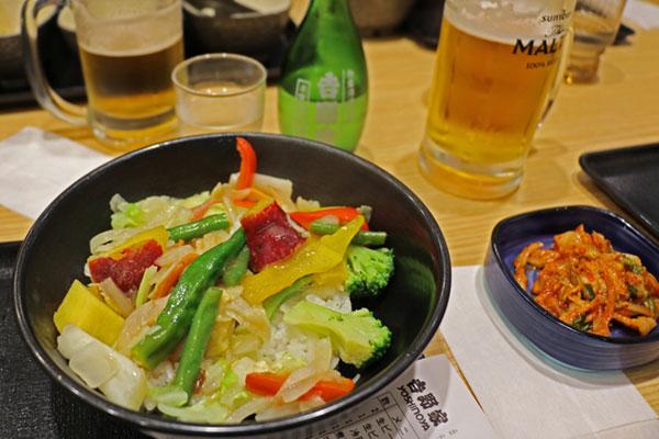 Veggie bowl at Yoshinoya in Japan