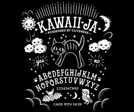 Kawaiija T-Shirt: Kawaii Ouija Board & Cat