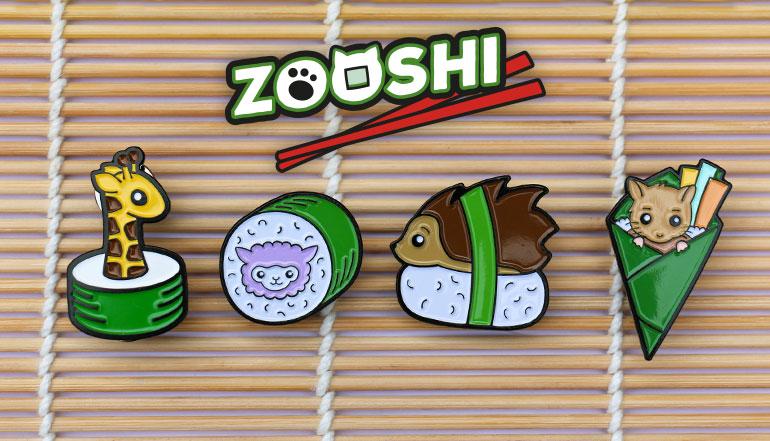 Zooshi Sushi Animal Enamel Pins