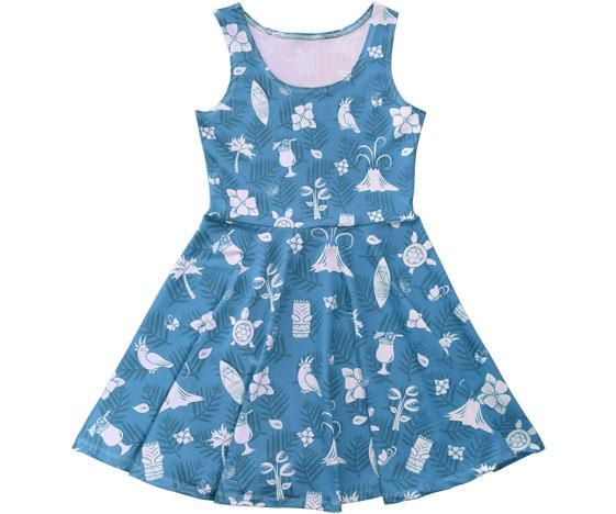 Blue Hawaiian Skater Dress