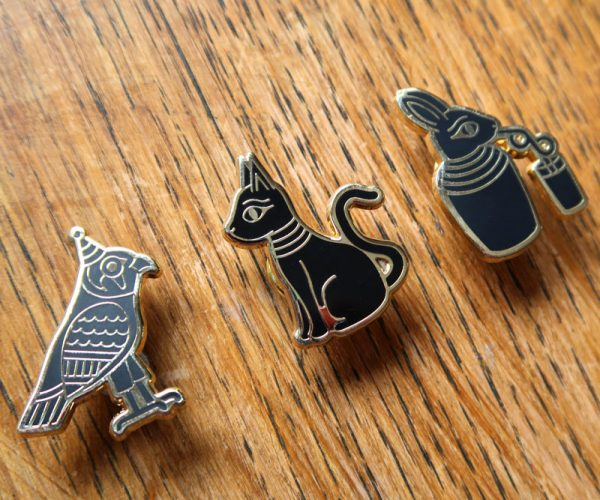 Black & Gold Egypt Pin Badges