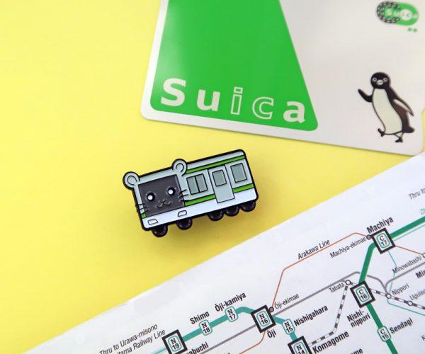 Cute Japanese Hamster Train Pin Badge