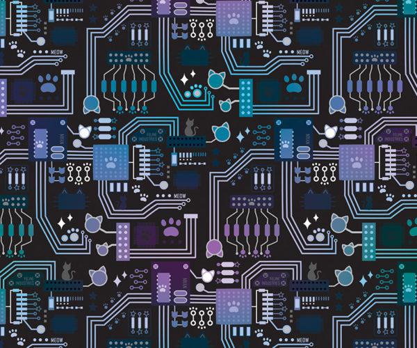 Circuitboard Cats Pattern
